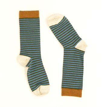 Light Aqua Blue & Olive Green Mini Stripe Socks