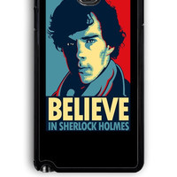 Samsung Galaxy Note 3 Case - Rubber (TPU) Cover with Believe in Sherlock Holmes Design