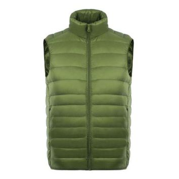 Man Thin Light Waistcoat Vest Down Coat Plus Size   green