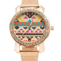 Aztec Rhinestone Chain Mesh Watch