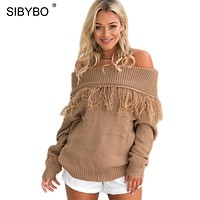 Sibybo Tassel Off Shoulder Sexy Women Sweaters and Pullovers Long Sleeve Knitted Warm Winter Sweater Women Cotton Pullover Women