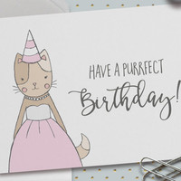 Cute Happy Birthday Card, Purrfect Birthday, Kitty Birthday Card, GirlyBirthday, Sweet Sixteen, Puns, Cat in a Dress, 5.5 x 4.25 Inch (A2)