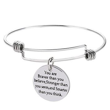 Stainless Steel Inspirational Bangle BraceletsWordless Love You Are Braver Than You Believe