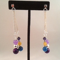 Colorful Multi Gemstone and Swarovski Crystal Chain Earrings with Sterling Silver Cube Posts