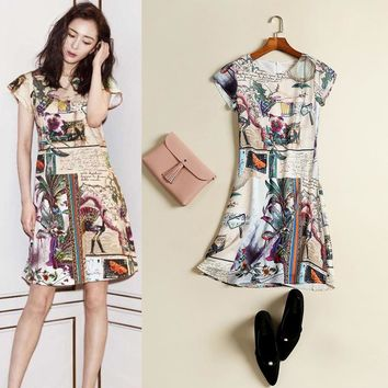 Summer New Style Star Style Women's Clothing Retro Palace Peacock Print Dress Female Slim Round Neck Sexy A-Line Dress