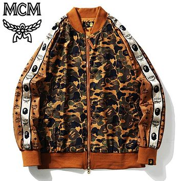 BAPE x MCM Coat Sweatershirt Tide brand camouflage desert Jacket Brown