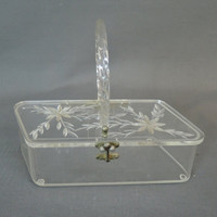 Vintage Clear Lucite Box Purse with Carved Top, 1950s Parallelogram  Handbag, Florida Handbags