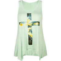 FULL TILT Cloud Cross Womens Sharkbite Tank