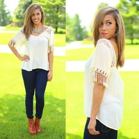 Fringe Fantasy Top in Ivory