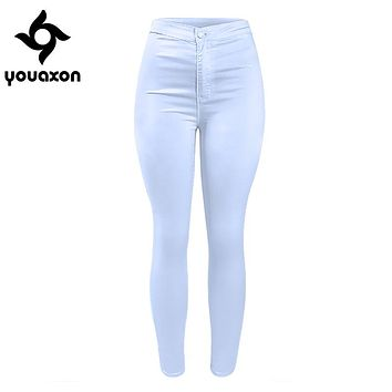 1888 Youaxon Women`s High Waist White Basic Casual Fashion Stretch Skinny Denim Jean Pants Trousers Jeans For Women