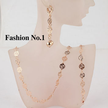Vintage Fashion top Quality 3pcs 18k Gold Plated Earrings Bracelet Necklace Women Jewelry Set Free Shipping
