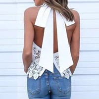 Inme 2016 Sexy Women Sleeveless Blouse Lace Crochet Blusas Tops Off Shoulder Backless Big Bowknot White Patchwork Shirts