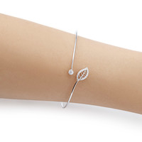 Rhinestone Leaf Bangle