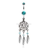 Classic Pewter Dream Catcher Belly Ring (Teal)