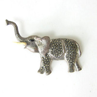 20% OFF SALE Vintage silver F25 elephant pin / brooch trunk up with rhinestones