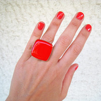 Coral statement ring, sanguine orange red summer minimal cocktail glass dome big chunky simple modern silver adjustable pop greek jewelry