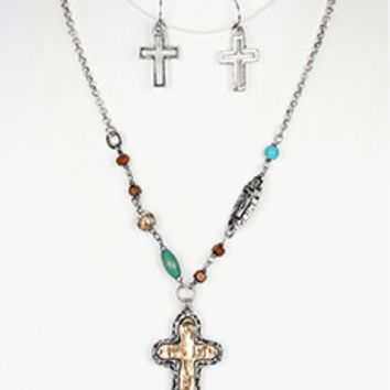Hammered Metal Cross Pendant Necklace and Earring set