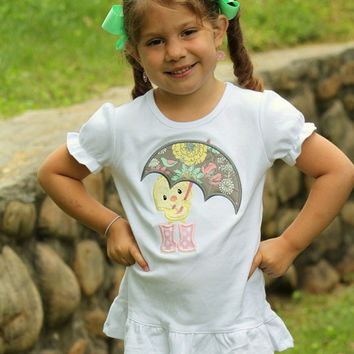 Girls ruffle shirt or tank top -- Made to match Matilda Jane Hello, Lovely -- April Showers -- pretty ducky with umbrella and rainboots