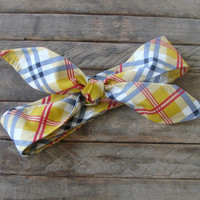 Skinny Headbands Reversible Plaid with Red, Blue and Mustard Yellow Teen Women Hair Accessory