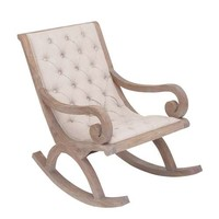 Vintage French Country Style Fabric Wood Rocker Chair