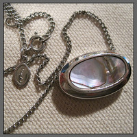 Vintage Avon Abalone and Silvertone Necklace Signed