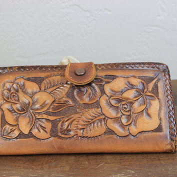 Vintage Floral Rose Tooled Leather Wallet