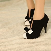 Black & White Tie Ankle Heels