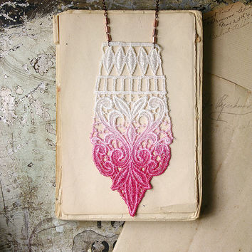 bohemian lace necklace - ANAIS- hot pink ombre - geometric - statement necklace - fall