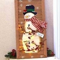 "24"" Lighted Holiday Snowman Shutter Indoor Hanging Wall Art Christmas Home Decor"