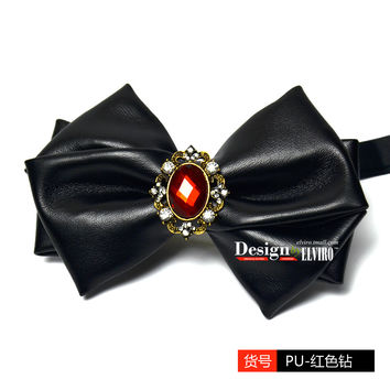 Gothic Men Fashion Lether Bow Tie
