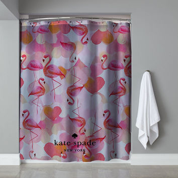 "New Rare Pink Flamingo Custom Kate Spade Exclusive Design Shower Curtain 60""x72"""