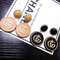 GUCCI New fashion letter leather diamond round women long earring