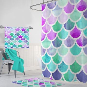 Mermaid SHOWER CURTAIN, Mermaid Bathroom Decor, Monogram Personalized Bath Decor, Mermaid Scales Girl Sister Bathroom Bath Towel, Bath Mat