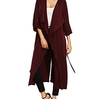 Kidsform Womens Draped Open Front Cardigan Long Maxi Cardigan Sweaters Long Sleeve Jacket With Belt