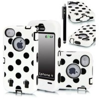 E-LV Polka Dot Hybrid Armor Case Combo for Apple iPhone 4/4S with 1 Free Front and Back Screen Protector, 1 Black Stylus and 1 E-LV Microfib