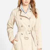 Women's GUESS Piped Fit & Flare Trench Coat