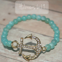 Mint and Gold Anchor Bracelet with Rhinestones - Hebrews 6:19 Inspiration
