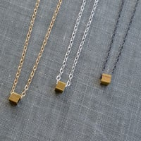 Tiny Brass Cube Necklace