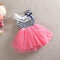 2014 Hot New Arrival Summer girls dresses girl tutu baby Striped kids cotton lace Children's Dresses.