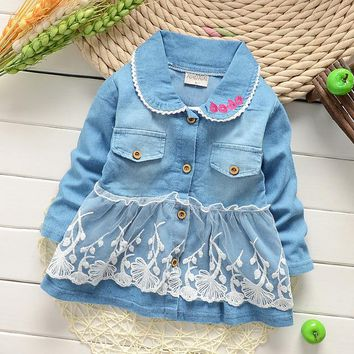 Baby Girls Coat Korean Style infant girl spring & autumn denim lace outerwear jacket children Cartoon cute outfits jean coat