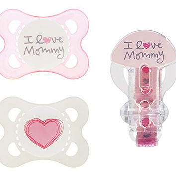 MAM Love and Affection Mommy Silicone Pacifier with Clip, Pink, 0-6 Months, 2-Count
