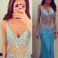Straps Prom Dresses, Blue Prom Dresses, Long Evening Dress