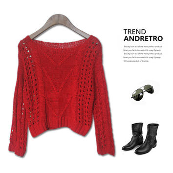Hollow Out Twisted Vintage Sweater Blouse [4918278852]