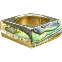 Vintage 1960s Mid Century Hecho En Mexico Mexican Taxco 800 Silver Square Shaped Geometric Statement Band Featuring Abalone Shell - Paua Shell in a Size 6