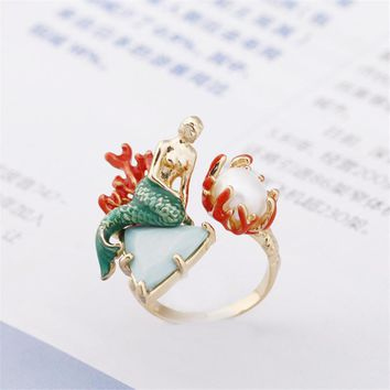 Warmhome Trendy Jewelry Enamel Glaze Copper Fashion Mermaid Natural Pearl For Women Opening Adjustable Ring