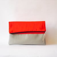 Neon Clutch , Foldover  Vegan leather, Neon Orange Color Block