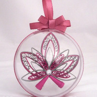 christmas ornament in a plastic sphere, custom christmas decoration, christmas bauble, christmas tree ornament, pink and silver decor