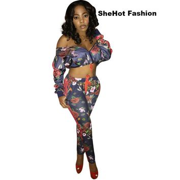 Women Two Piece Long Sleeve Sexy Floral Print Crop Top Pant Set