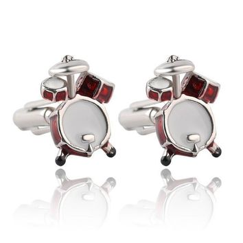 treble clef red drums kit cufflinks for men