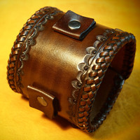 Leather cuff Bracelet Brown Vintage style braided edge, hand tooled, Fine quality Made YOU in NYC by Freddie Matara